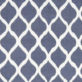 Biju Ikat - Indigo - Denim blue and white coloured fabric made from linen and cotton, featuring a simple, stylish pattern of wavy lines