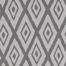 Lalu Ikat - Silver - Cotton and viscose blend fabric featuring a large, simple, repeated diamond design in two different shades of grey