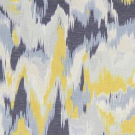 Olavanna Ikat - Chartreuse - Blurred, abstract patches of off-white, light yellow, baby blue and denim blue printed on linen and polyester ble