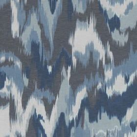 Olavanna Ikat - Indigo - Camouflage style linen & polyester blend fabric printed with random, blurred patches in various different shades of