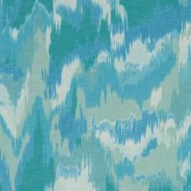Olavanna Ikat - Lagoon - Fabric made from linen and polyester in shades of aqua and duck egg blue, featuring a random, patchy, camouflage style