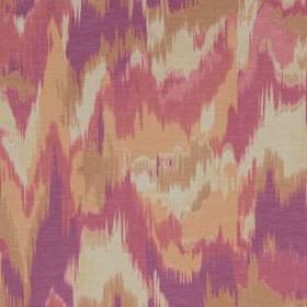 Olavanna Ikat - Magenta - Linen and polyester blend fabric with a random, blurred, patchy camouflage style print in apricot, pink, purple and