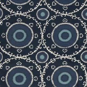 Samarkand - Indigo - Circles, hearts and delicate patterned rings printed on cotton and rayon blend fabric in white and 3 dark shades of blu