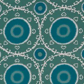 Samarkand - Lagoon - Dark green cotton and rayon blend fabric featuring turquoise and white circles, hearts and delicate patterned rings