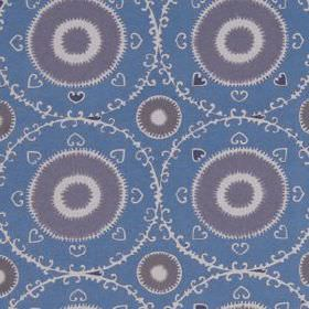 Samarkand - Lilac - Fabric blended from cotton and rayon in white, cobalt blue and light purple, with hearts, patterned rings and circles