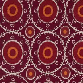 Samarkand - Magenta Red - Deep maroon, dark red, orange and white coloured circles, hearts and patterned rings printed on cotton and rayon f