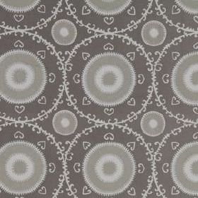 Samarkand - Silver - Cotton and rayon blend fabric printed in white and shades of grey with circles, hearts and delicate patterned rings