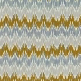 Sonia Ikat - Chartreuse - Scalloped lines with jagged edges printed in gold, pale grey and light blue on fabric blended from linen and cotto