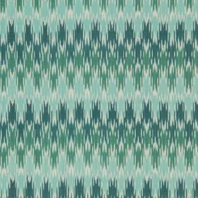 Sonia Ikat - Lagoon - Linen and cotton blend fabric printed with scalloped lines with jagged edges in green, aqua blue and marine blue colou