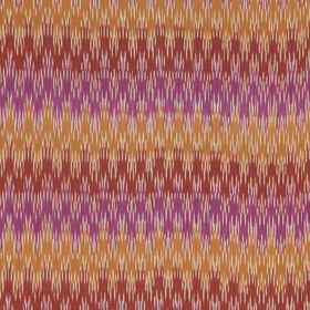 Sonia Ikat - Magenta Red - Warn orange, red and violet colours making up a linen and cotton blend fabric with scalloped lines with jagged ed