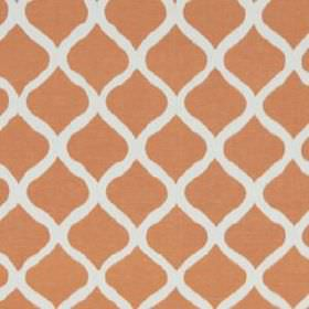 Biju Ikat - Mandarin - Linen and cotton blend fabric featuring a simple, stylish pattern of wavy lines in white and deep salmon pink