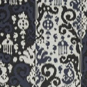 Cassia Ikat - Indigo - Dark grey, icy grey and black coloured cotton and silk blend fabric, covered with stylish tribal style patterns