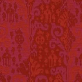 Cassia Ikat - Magenta Red - Rich, warm red, pink and orange coloured tribal style designs patterning modern cotton and silk blend fabric