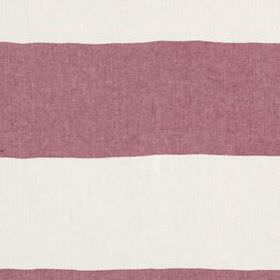 Horizon Stripe - Red - White and dusky purple coloured stripes running in a wide, horizontal design across 100% linen fabric