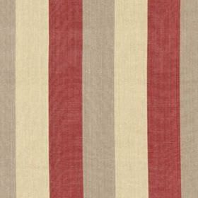Huron Stripe - Flax - Stylish vertical block stripes running down 100% linen fabric in traditional block red, beige and cream colours