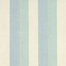 Huron Stripe - Lake - Fabric made from vertically striped 100% linen, with a simple design in powder blue, duck egg blue and cream colours