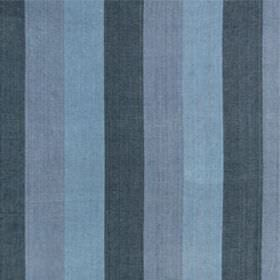 Huron Stripe - Indigo - Three different shades of blue making up a simple vertical block stripe design on 100% linen fabric