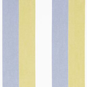 Jasmine Stripe - Chartreuse - Vertically striped cotton and linen blend fabric featuring regular bands in beachy white, blue and sand shades