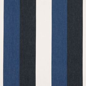 Jasmine Stripe - Indigo - Black, white and denim blue coloured stripes running vertically down fabric made from cotton and linen
