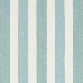 Lotus Stripe - Lagoon - Classic powder blue and white coloured stripes alternating in a regular pattern on fabric made from linen and cotton