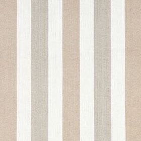 Lotus Stripe - Linen - White linen and cotton blend fabric with simple, regular, vertical stripes in light, similar shades of beige and grey
