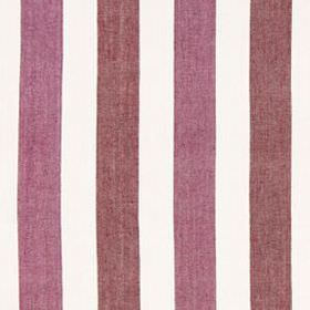 Lotus Stripe - Magenta Red - Grape and purple coloured stripes creating a simple, vertical design on linen and cotton blend fabric made in w