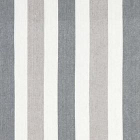 Lotus Stripe - Silver Coal - Vertically striped fabric made from linen and cotton, featuring alternating bands of white, ash grey and iron g
