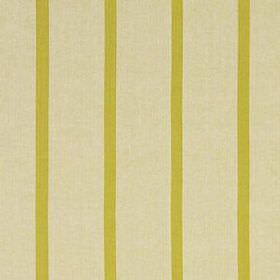 Masala Stripe - Chartreuse - Thin lime green coloured stripes running at wide, evenly spaced intervals on putty coloured cotton and linen blen