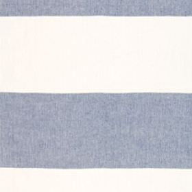 Horizon Stripe - Indigo - 100% linen fabric featuring a wide horizontal stripe design in denim blue and white