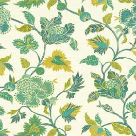 Enchanted Vine - Emerald - Various leaves and vines printed in teal, turquoise and olive green shades on light cream coloured 100% linen fab
