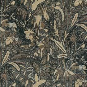 Lioness - Walnut - 100% linen fabric printed with large, sweeping leaves in beige and various light and dark shades of grey and brown