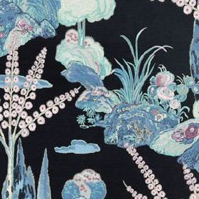 Moon Blossom - Midnight - Black 100% linen fabric patterned with light purple and blue designs of hills, flowers, trees and reeds