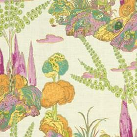 Moon Blossom - Orchid - Light green, orange, yellow and bubblegum pink coloured hills, flowers, trees & reeds printed on white 100% linen fa