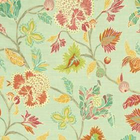 Enchanted Vine - Mint - Leaf patterned fabric made from 100% linen in light, fresh shades of mint, green, turquoise, pink and orange