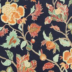 Enchanted Vine - Navy - Aqua blue, dark pink and warm orange coloured leaves creating an elegant pattern on midnight blue 100% linen fabric