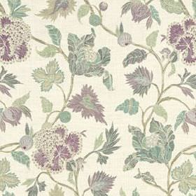 Enchanted Vine - Orchid - Light shades of grey and purple making up a stylish leaf design on a white 100% linen fabric background