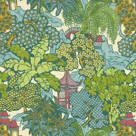 Hidden Temple - Emerald - Oriental style pagodas, hills and trees covering 100% linen fabric in light blues and greens, with some pink and o