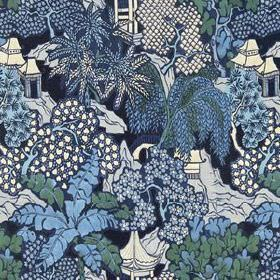 Hidden Temple - Indigo - White and various shades of blue making up a design of Oriental style pagodas, trees and hills on 100% linen fabric