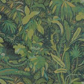 Lioness - Emerald - Large, sweeping leaves printed in duskt shades of green on a very dark blue 100% linen fabric background