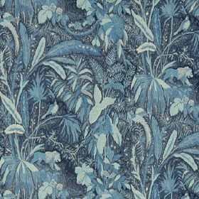 Lioness - Indigo - Fabric made from 100% linen in various shades of blue, featuring a design of large, sweeping leaves