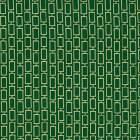Art Angle - Emerald - Vibrant emerald green coloured 100% silk fabric printed with rows of small, simple outlines of white rectangles