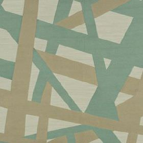 Composition - Dark Aqua - Duck egg blue and beige coloured lines scattered at random angles over very pale grey 100% silk fabric