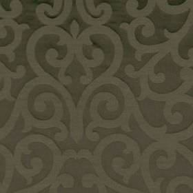 Exhibition - Walnut - Elegant, sophisticated swirls patterning stylish graphite grey coloured cotton, linen and silk blend fabric