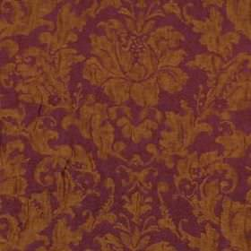 Flame Frame - Magenta - Extravagant cotton, silk and linen blend fabric made with opulent leaves and flowers in warm violet and rust colours