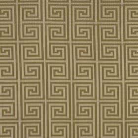 Helene Key - Umber - A stylish square swirl design printed repeatedly in light shades of grey and brown on fabric made from silk and cotton