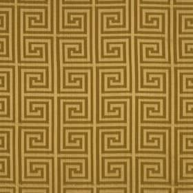 Helene Key - Warm Gold - Fabric made from silk and cotton in warm cream and brown colours, featuring a stylish repeated square swirl design