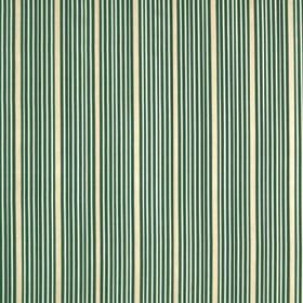 Kelly Stripe - Dark Aqua - Clusters of thin emerald green and icy blue coloured lines running down white 100% silk fabric