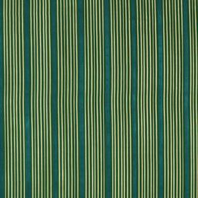 Kelly Stripe - Emerald - Dark green, pale green and teal coloured 100% silk fabric, printed with clusters of thin vertical lines