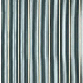 Kelly Stripe - Marine - Vertically striped 100% silk fabric printed with groups of thin, simple lines in classic white and blue colours