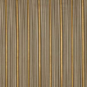 Kelly Stripe - Umber - Luxurious gold fabric made from 100% silk, patterned with a design of thin white & dark brown stripes arranged in gro